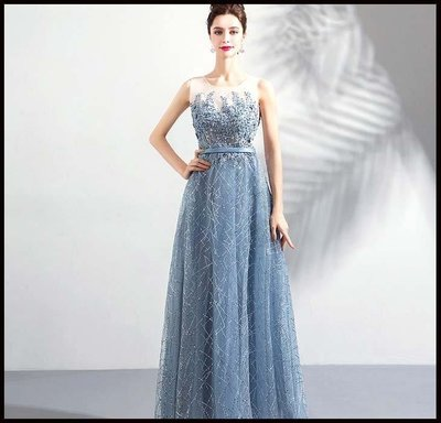 哆啦本鋪 新款天使的嫁衣星空裙 霧藍色鑽石花瓣婚紗晚宴年會生日禮服伴娘服D655