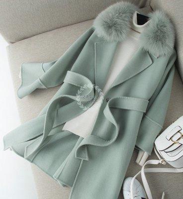 【2A Two】質感真狐狸毛大毛領⌒手工縫製➿雙面羊毛100%綁帶大衣 外套 有大碼『BA0972』