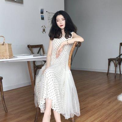 夏裝新款韓版氣質波點吊帶裙連衣裙+中長款網紗背心裙兩件套裝女