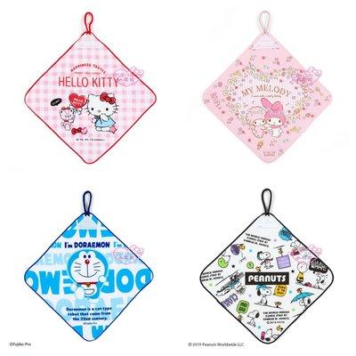 ♥小花花日本精品♥Hello Kitty美樂蒂史努比哆啦A夢 滿版圖 純棉 掛式 擦手巾 手帕 居家必備~3