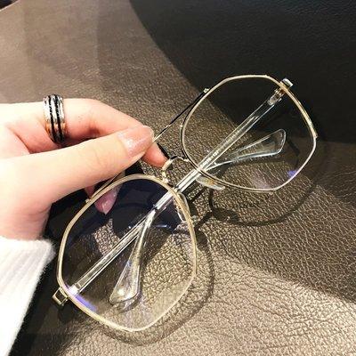 大框眼鏡框架男女潮素?半框複古圓臉平光鏡防藍光