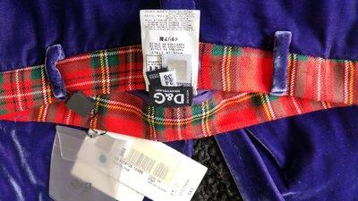全新吊牌完整 Dolce & Gabbana 葡萄藍莓色絲絨花布邊七分褲馬褲