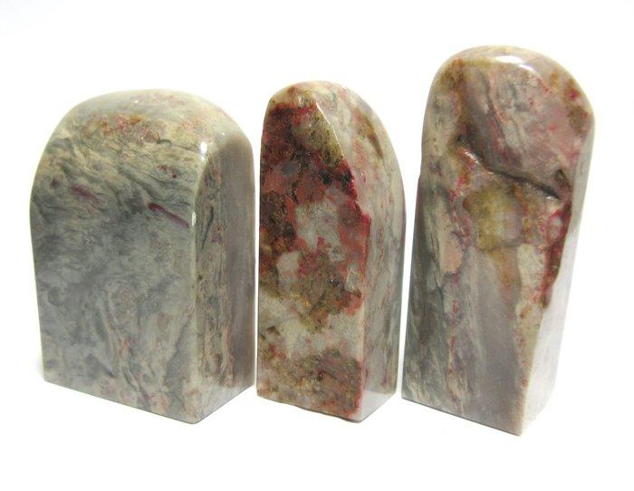 出賣家藏--軟地雞血石印材3支一組 壽山石 巴林石 雞血石 荔枝凍 杜陵石