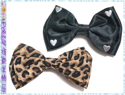 ☆POLLY媽☆歐美claires愛心金屬片黑色絲緞、棕色豹紋紗質雙層大蝴蝶結小壓夾