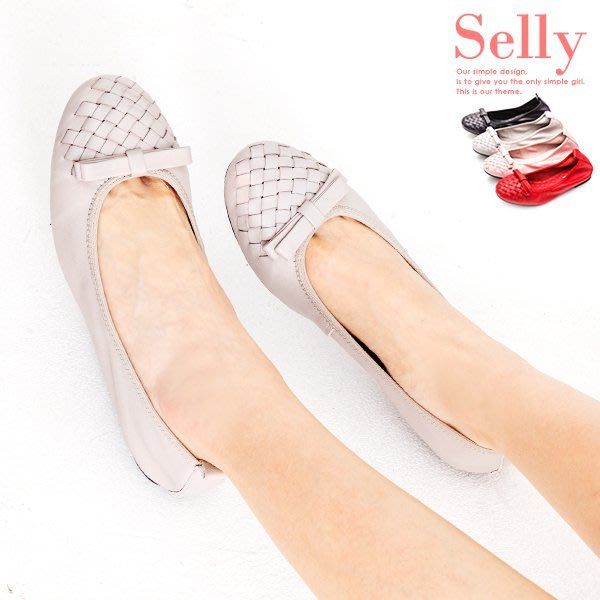Selly outlet 牛皮編織蝴蝶結娃娃鞋(G220) 粉紅40號 NG295