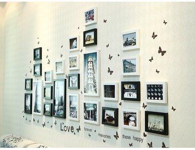 ((YUMI小舖))26框大組合背景墙壁面上客廳卧室裝飾創意相片照片相框墙(送蝴蝶墙和圖片)