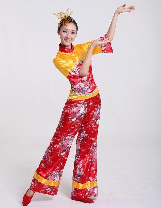 888利是鋪-新款女花布秧歌服裝舞蹈服裝廣場舞演出服裝采茶舞茶山情歌舞蹈服#舞服