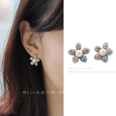 【韓Lin連線代購】韓國 GET ME BLIN- 明星同款施華洛世奇鑽珍珠花朵耳環 CHERRY BLUSSOM