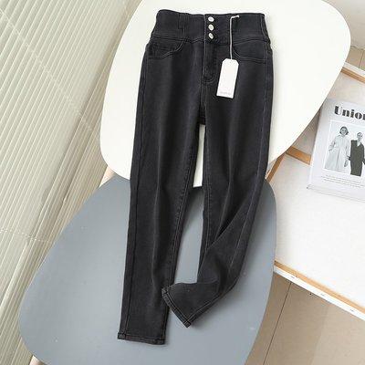 限時特價~11/3 BEEF精品時尚 歐美冬季新款 三粒扣 加絨保暖高腰牛仔小腳褲
