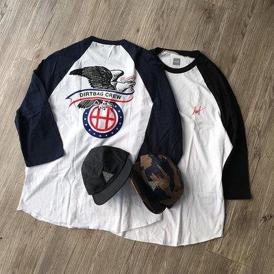 【超搶手】 全新正品 美牌 HUF DUGOUT RAGLAN 老鷹 七分袖 黑藍紅 S M L XL
