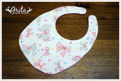 ♥gritas handmade♥純棉手作嬰幼兒圍兜兜/領巾/口水巾/三角巾/彌月禮—優雅蝴蝶結