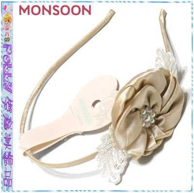 ☆POLLY媽☆英國MONSOON白色絲線刺繡蕾絲葉片香檳色綢緞立體縐摺花朵包緞金屬細版髮箍