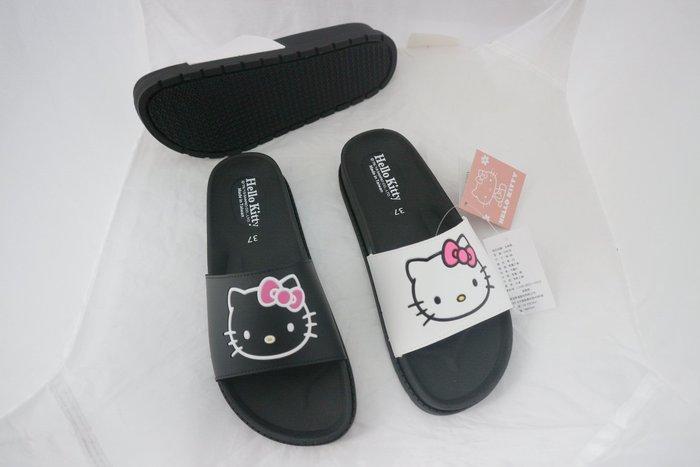 *㊣品*最新瘋迷卡通 大人版拖鞋 KITTY819236 黑 白色 室內 室外 浴室 拖鞋 36~39號 台灣製 0 直