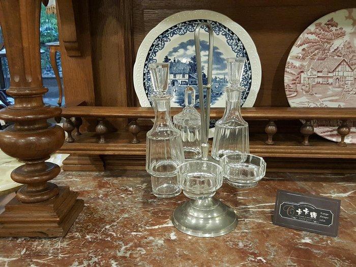 【卡卡頌 歐洲跳蚤市場/歐洲古董】歐洲老件_ 厚實雕刻水晶玻璃 五件調味罐組 大組 金屬提架 g0393