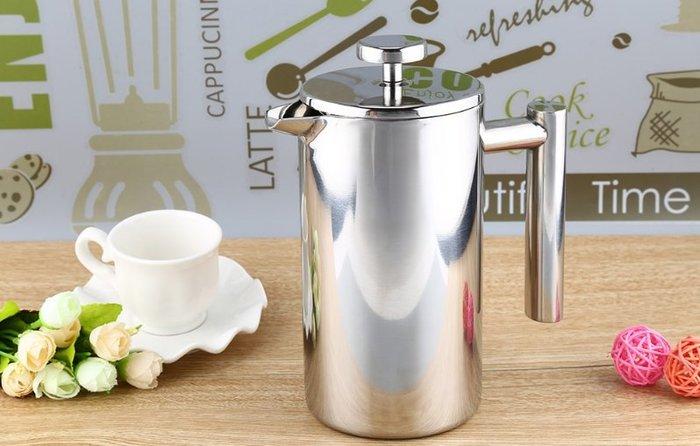 晴天咖啡☼ koonan 雙層304不銹鋼  800ml    法式濾壓壺 沖茶器 花茶壺 咖啡壺