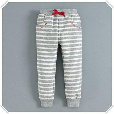 ❤大老婆小寶貝❤ mom and bab 灰色條紋刷毛休閒束口長褲12m.18m.24m.3T.4T.5T.6T