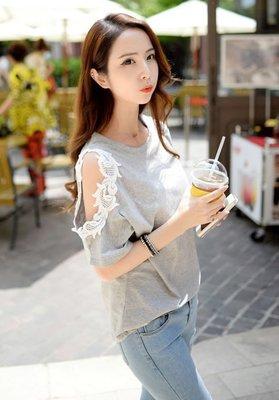 零碼出清現金價_品名: 韓國花邊露肩時尚上衣(灰色)TT203321256 J-10991
