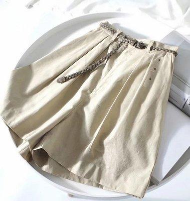 【An Ju Shop】外單 歐美西班牙風 舒適百搭寬鬆版鬆緊高腰腰帶棉麻闊腿短褲女五分褲裙~S5D065235