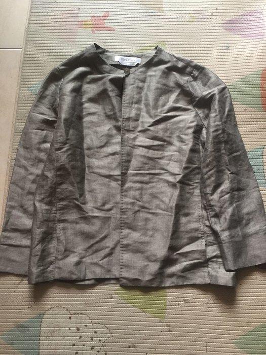 Max Mara 銀色麻料7分袖罩衫