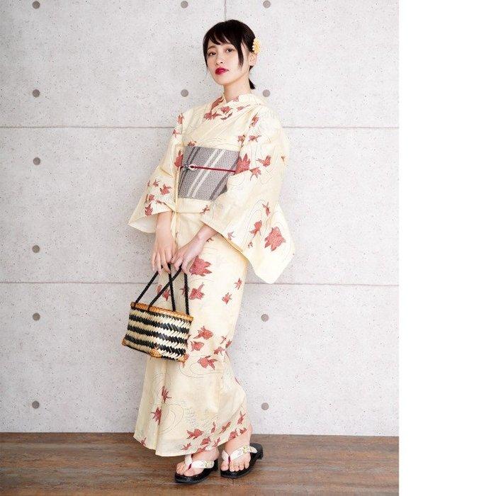 01全棉日本高品質和服浴衣 黃色金魚招財 大碼 75公斤左右的人適穿~大碼