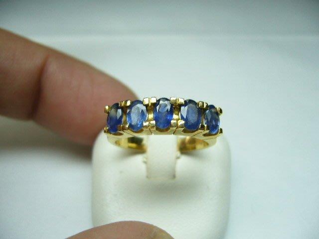 [吉宏精品交流中心]5P 天然藍寶石 黃K金 造型 戒指(線戒)