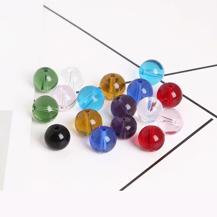 雜貨小鋪 4-8mm水晶玻璃圓珠手工diy耳環材料制作手鏈耳墜散珠子耳飾品配件!二件起購 !