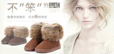 ☆女孩衣著☆冬季新款女鞋透氣防滑短筒女靴超大仿狐狸毛短靴子雪地靴(NO.28)