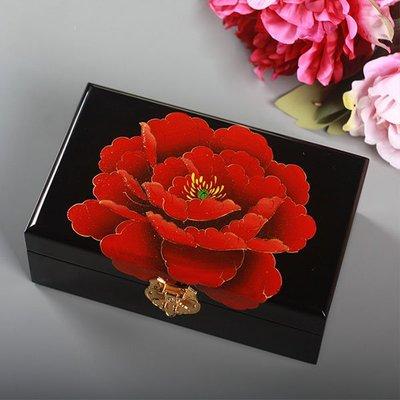 5Cgo【鴿樓】會員有優惠 522942483858 首飾飾品收納整理中式漆器彩繪盒木帶鎖珠寶戒指高檔化妝飾品盒