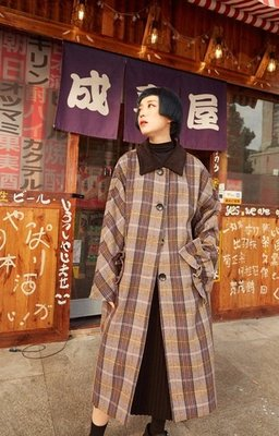 【黑店】原創設計 復古格紋荷葉邊大口袋羊毛混紡長版大衣 英倫風復古格紋大衣 訂製款格紋長大衣YR133