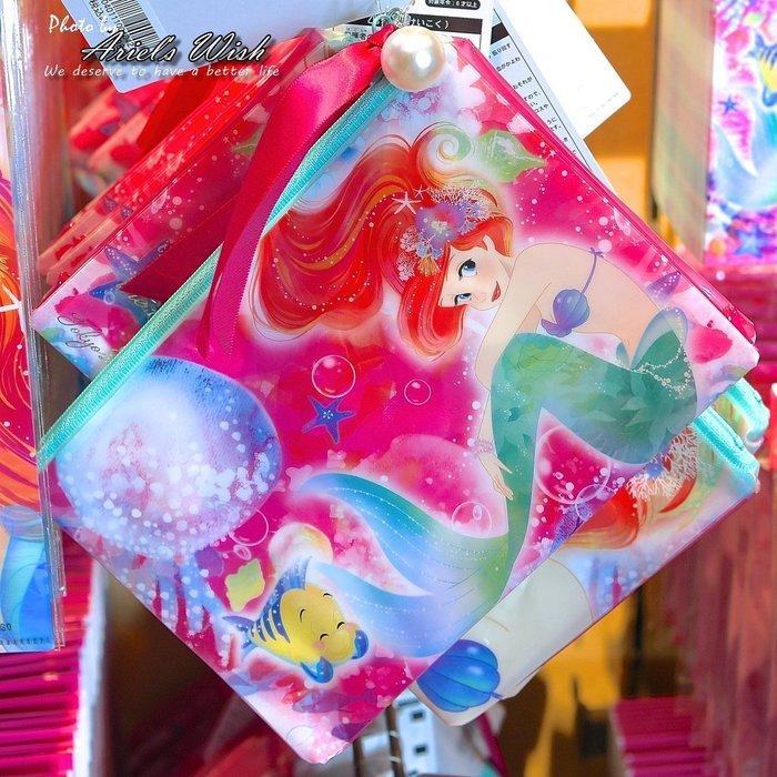 Ariel's Wish預購日本東京Disney迪士尼愛麗兒小美人魚粉紅色夢幻海底泡泡珍珠拉鍊袋雙面收納袋防潑水萬用袋子