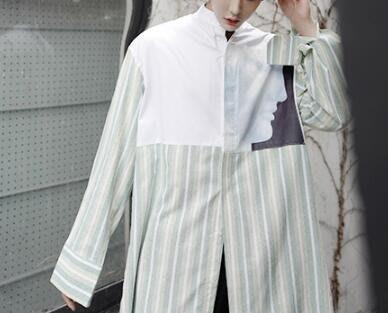 FINDSENSE Z1 韓國 時尚 潮 男 綠色條紋 拼色 黑白人臉 長袖襯衫 特色襯衫