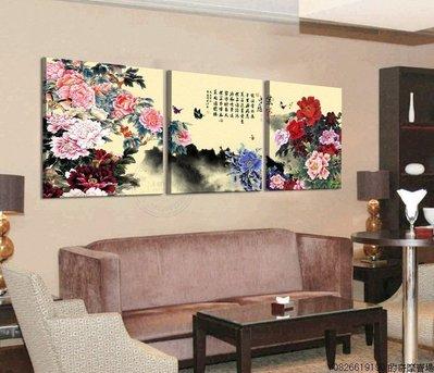 【厚1.2cm】【60*60cm】牡丹裝飾畫無框畫客廳現代簡約臥室餐廳創意【220110_0315】3聯畫