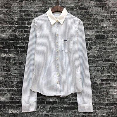 Maple麋鹿小舖 Abercrombie&Fitch * AF 女生直條紋長袖襯衫* ( 現貨S號 )