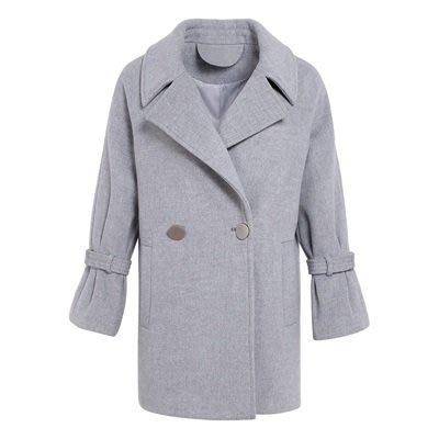 毛呢 外套 長版大衣-灰色直筒休閒秋冬女外套73ui18[獨家進口][米蘭精品]
