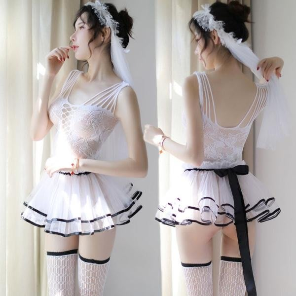 緊身網衣性感騷情趣內衣透視激情套裝公主新娘小胸制服開檔三點式