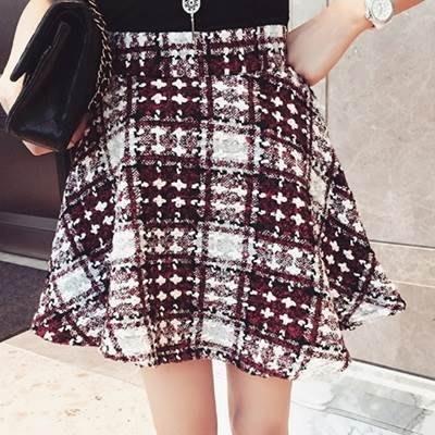 短裙 毛呢半身裙-時尚高腰氣質格子女裙子2色73kj37[獨家進口][米蘭精品]