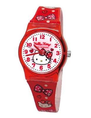 【卡漫迷】 Hello Kitty 膠錶 紅色 ㊣版 台灣製 手錶 兒童錶 女錶 卡通錶 蝴蝶結 凱蒂貓 女孩