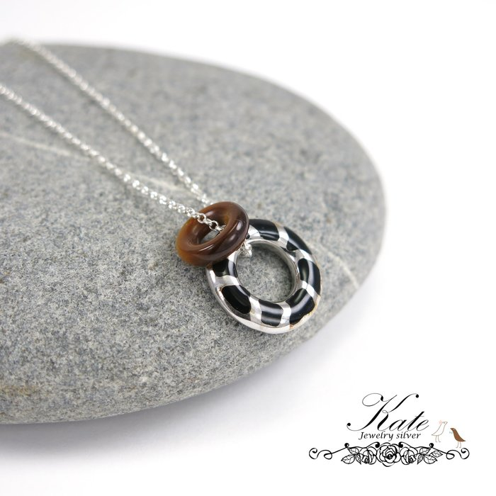 斑馬紋虎眼石純銀項鍊 義大利設計款 狂野性感  925純銀寶石項鍊/生日禮物情人禮物/KATE銀飾