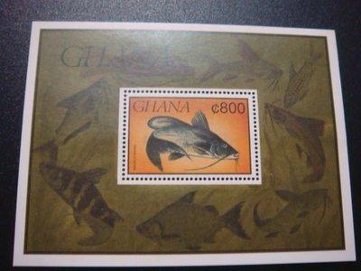 【大三元】非洲郵票-迦納-FGH1a各國魚類專題系列--新票小全張-原膠