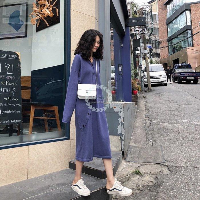 【2A Two】韓國⌒慵懶風 素色 特殊斜排扣 針織洋裝⌒ 連身裙『381017005』