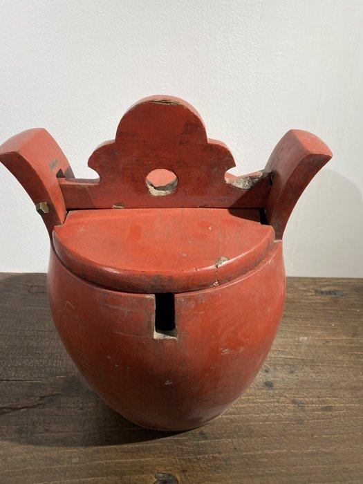 【一(藝)窩】十九世紀 十九世紀 紅漆茶桶~榆木~