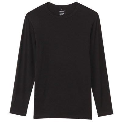 貳拾肆棒球--日本帶回MUJI無印良品男棉混保暖圓領長袖衫L深灰色