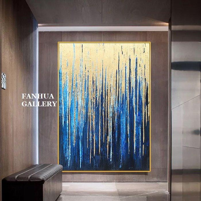 C - R - A - Z - Y - T - O - W - N 純手繪立體筆觸油畫流金雨抽象藝術油畫金箔抽象裝飾畫商空美學空間設計師款高檔手繪油畫收藏掛畫