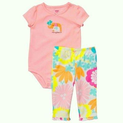 【N's】Carter's 嬰幼童 粉紅花卉大象短袖包屁衣+長褲二件組彌月禮 *另有Old Navy/OshKosh