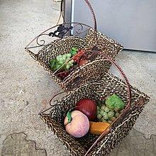 二手家具全省收購(大台北冠均)二手貨中心(6918/2)--時尚摩登鑄鐵藤編扇形水果籃 收納籃N-0731125