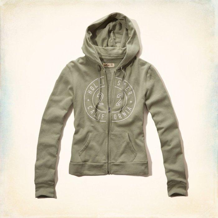 Maple麋鹿小舖 Hollister Co * HCO 綠色電繡字母連帽外套 * ( 現貨S/M號 )