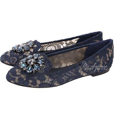 米蘭廣場 DOLCE & GABBANA 花朵鑽飾蕾絲樂福鞋(藍色) 1730399-34