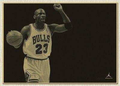 【貼貼屋】NBA 喬登 Michael Jordan 籃球 懷舊復古 牛皮紙 海報 壁貼 電影海報