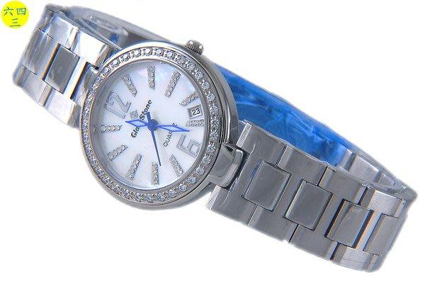 @(六四三鐘錶精品店)@GLOD STONE(真品)陳慧玲款式.爪鑲鑽錶.白色珍珠母貝...