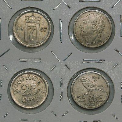 挪威 (NORWAY) 1957年及1966年 25 ORE 鎳幣 不同版本共2枚一起標【A2500】